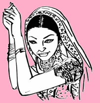 indian lady drawing pink -294548_640
