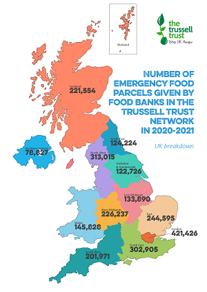Trussell Trust Emergency Food Parcel UK 2020-2021