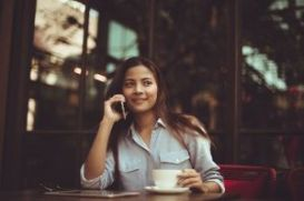 asian woman in coffee shop